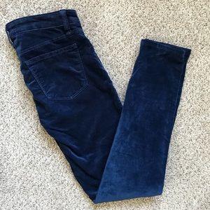 J Brand Navy Blue Velvet Super Skinny Pants